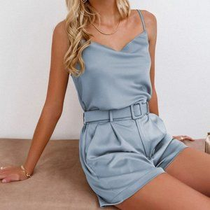 Cowl Neck Cami Top & Buckle Belted Shorts Set